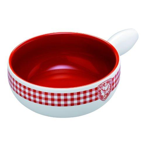 KUHN RIKON 32181 Fondue Käsefondue Caquelon Karo Hirsch,Induktion 23cm Weißer Ton weiß mit rot/weißem Karodekor und Hirschmotiv