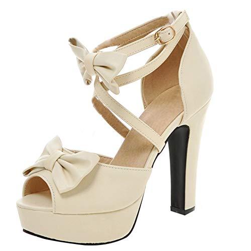 LUXMAX Damen Cross Straps High Heel Sandalen Plateau Peep Toe Sandaletten mit Knöchelriemen Schleife Schuhe(Beige 45)