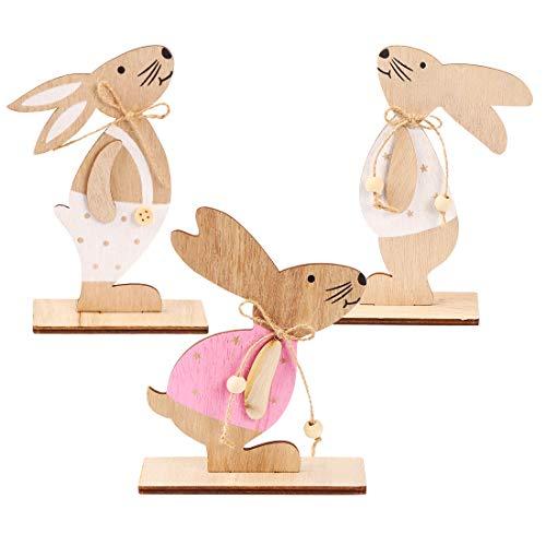 Zaloife Coniglio Pasquale Decorazioni, Decorazioni Pasquali Legno, 3pcs Coniglio Pasquale Deco