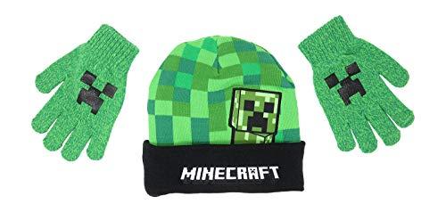 Minecraft Creeper Peep Kids Mütze und Handschuhe Set New Green