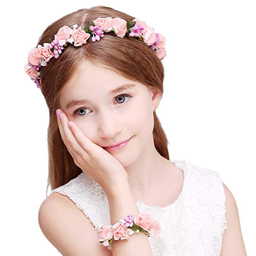 Kercisbeauty Haarreifen im Vintage-Stil für Hochzeiten, rosa, blassrosa und weiße Rosen, Blumenkranz, für Mädchen, Blumen-Krone, Haar-Accessoire für Braut, Brautjungfern Blumen, Bälle, Halloween-Party