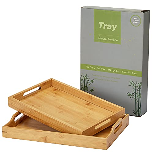 Serving Tray with Handle Rectangle Bamboo Butler Breakfast Tray,2 pcs Party Platter Decorative Large Tea Tray for Ottoman,Couch Dinner Trays for Kitchen, Bathroom, Living Room,Bedroom and Outdoors