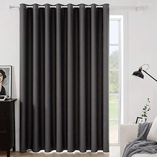 MIULEE Grey Blackout Curtain for Living Room Sliding Glass Door Vertical Blind for Room Darkening Extra Wide Window Drapes Grommet Top Room Divider Panel for Bedroom/Patio 1 PC 100 x 84 Inch