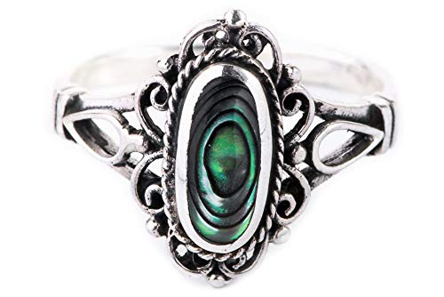 WINDALF Boho Ring LÎNA h: 1.4 cm Mittelalter Ornamentik Seeopal Hochwertiges Silber (Silber, 52 (16.6))