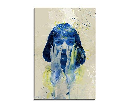 Uma Thurman Pulp Fiction IV Aqua 90x60cm - Splash Art Paul Sinus Wandbild auf Leinwand - Malerei, Kunstbild, Aquarell, Fineartprint