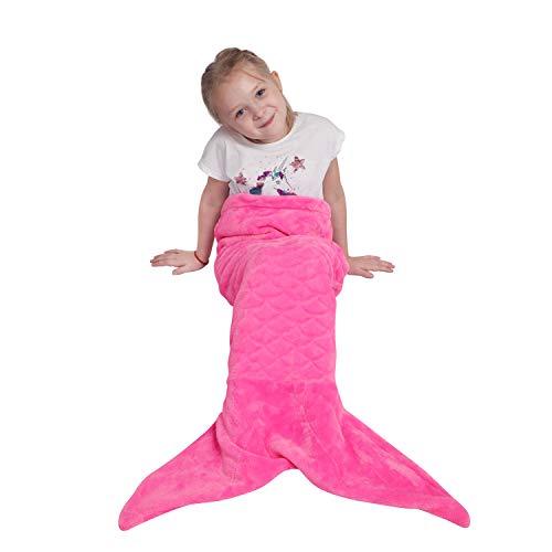 softan Kids Mermaid Tail Blanket,Plush Soft Flannel Fleece All Seasons Sleeping Blanket Bag,Plain Fish Scale Design Snuggle Blanket,Best Gifts for Girls,43x99cm