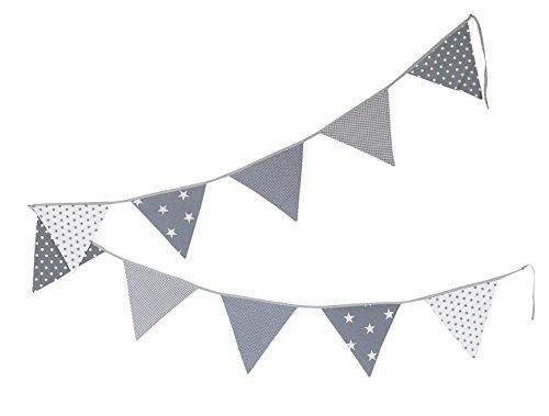 Guirnalda de banderines de ULLENBOOM ® con estrellas grises (guirnalda de tela: 3,25 m; 10 banderines; decoración para la habitación de los niños; fiestas de bienvenida para bebés)