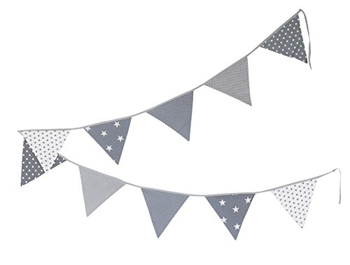 ULLENBOOM  Bunting – Grey Stars (Fabric Garland: 3.25 m, 10 pennants, Nursery Decoration, Baby Showers)