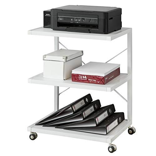 SoBuy FRG81-W Printerroltafel met 3 Opbergvakken Printerstandaard Archiefwagen Keukenwagen Zijwagen Wit BHT ca. 56x70x41cm