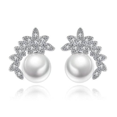 Wiftly Women's Elegant Earrings, Stainless Steel Women's Earrings Snowflake Shape Stud Earrings Glitter Earrings White with Zirconia for Women, Christmas Valentine's Day Hypoallergenic