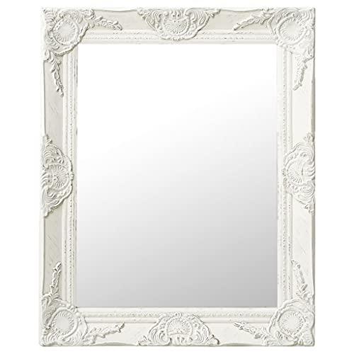 vidaXL Espejo de Pared Estilo Barroco Rectangular Colgante Baño Armario Antiguo Retro Consumo de Maquillaje Decoración Hogar Blanco 50x60 cm