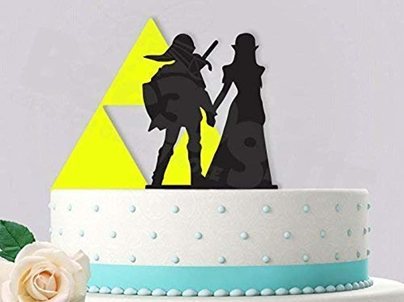 Sweet Link and Zelda with Triforce Inspired Wedding Cake Topper (Two Piece)