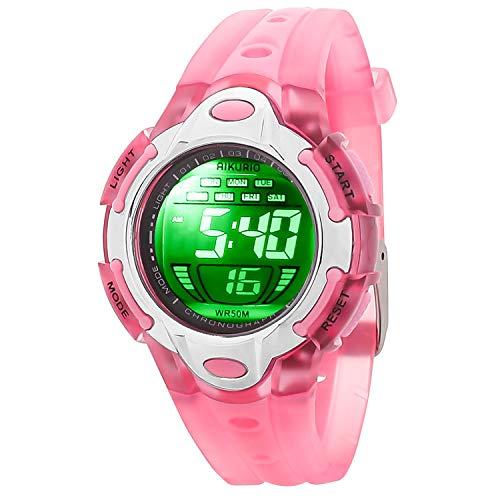 AIKURIO Kinder Digital Uhr 50M Wasserdicht mit 8 LED-Leuchten und Silikon Armband AKR006 (Rosa)
