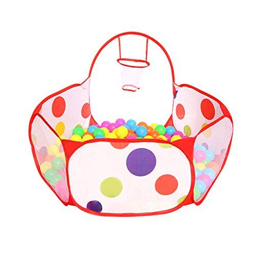 Newcomdigi Piscina di Palline Ball Pit Pool Bambini Tenda Gioca Piscina per Bambini Pieghevole Pop-up Palline non Incluse - con Mini Canestro