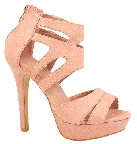 Elara Elara Damen Pumps Offen Stilettos High Heels Chunkyrayan LL85-Pink-38