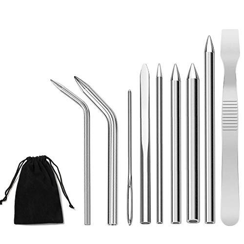 Comius Sharp 9 Stücke Edelstahl Paracord Nadel FID Set, Paracord Schnürstich Nadel mit Glättwerkzeug für DIY Bastelbedarf DIY Armbänder, Weaving Schnürsenkel