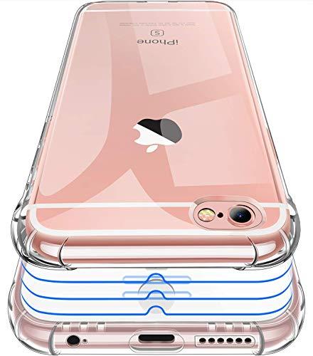 Garegce Coque iPhone 6, Coque iPhone 6s Transparente + 3 Pack Verre trempé Protection écran, Housse Etui Silicone TPU Souple, Protection Antichoc Bumper Cover iPhone 6/6s- 4.7 Pouces-Transparent
