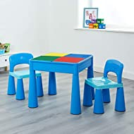 Liberty House Toys Plastic Blue Children's 5-in-1 Activity Table & Chairs with Writing Top/Sand/Wate...