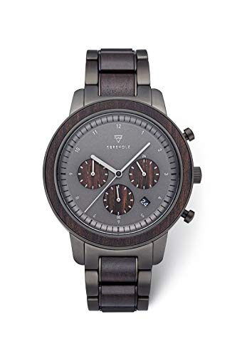 KERBHOLZ Holzuhr – Classics Collection Maximilan Quarz Uhr, Holz Chronograph für Herren, verstellbares Armband aus massivem Edelstahl, Ø 44mm