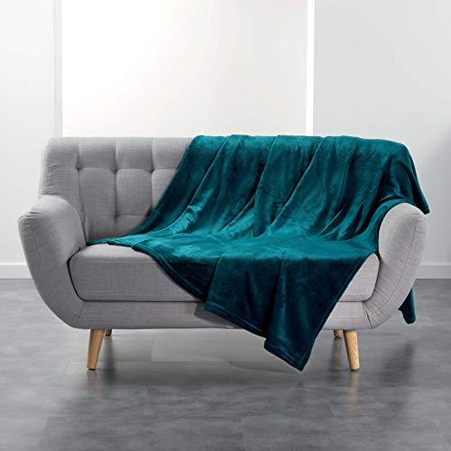 douceur d intérieur FLANOU Plaid, Polyester, Bleu, 180 x 220 CM