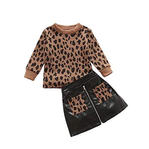 WangsCanis Conjunto de 2 piezas para niña recién nacido con estampado de leopardo + falda de piel con bolsillo en los lados para niña