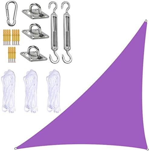 Toldo triangular para jardín, 3 x 4 x 5 m, con kit de fijación resistente, 3 cuerdas, impermeable, protección UV, velas de jardín para exteriores, patio, jardín, bañera de hidromasaje, color morado