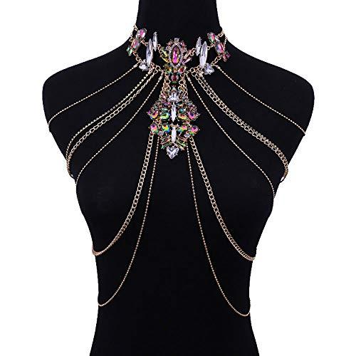 Simsly Beach Edelstein Körperkette Gold Halskette Kettengeschirr Schmuck für Frauen und Mädchen (003-body chain)