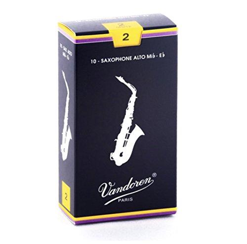 Vandoren Classic blau, Blätter für Alt Saxophon, 10er Packung, Altsaxofon, Alto, Rohrblatt, Blättchen, SR212, Stärke 2,0