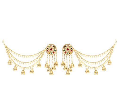 SANARA Indian Bollywood Jewelry Wedding Long Chain Bahubali Indian Jhumka Jhumki Earrings For Women (Sahara Kaan Chain) (Multi)