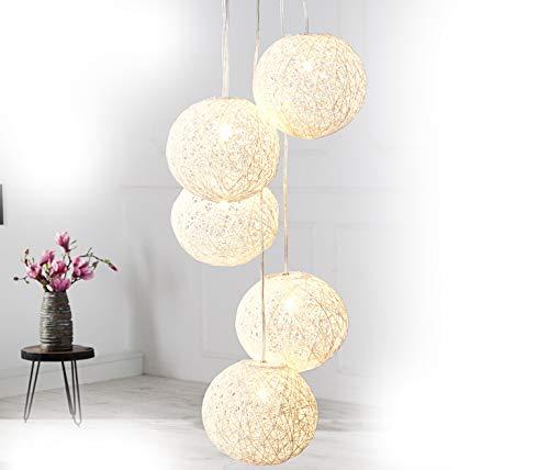 DuNord Design Hängelampe Pendellampe Kugellampe Hanf Kugel BOZZOLO PEARL weiss Lampe Hängeleuchte