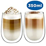 Glastal Doppelwandige Latte Macchiato Glaser Set Thermoglas Kaffeeglas Trinkgläser 2-teiliges 350ml...