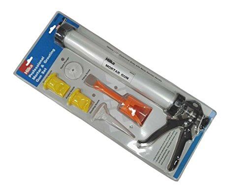 Hilka 66855006Profi Mörser und Verfugen Gun Set–Silber