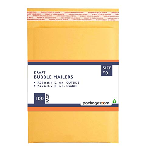 PackageZoom #1 7.25 x 12 Padded Envelopes Kraft Bubble Mailer Shipping Envelopes 100 Pack