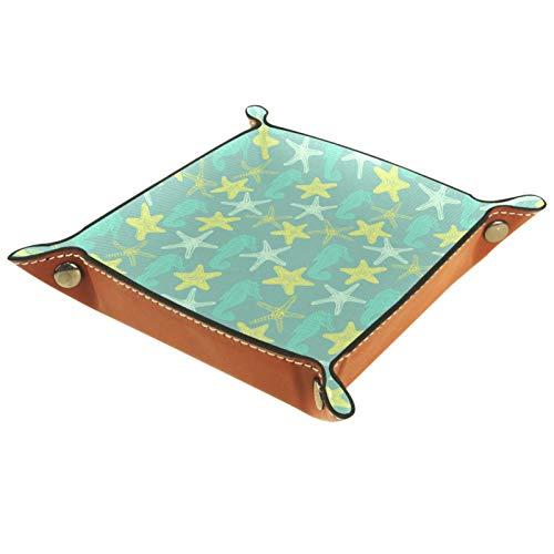 YATELI Caja de Almacenamiento pequeña, Bandeja de Valet para Hombre,Estrella de mar Amarilla y Caballito de mar,Organizador de Cuero para Llaves de Caja de Monedas