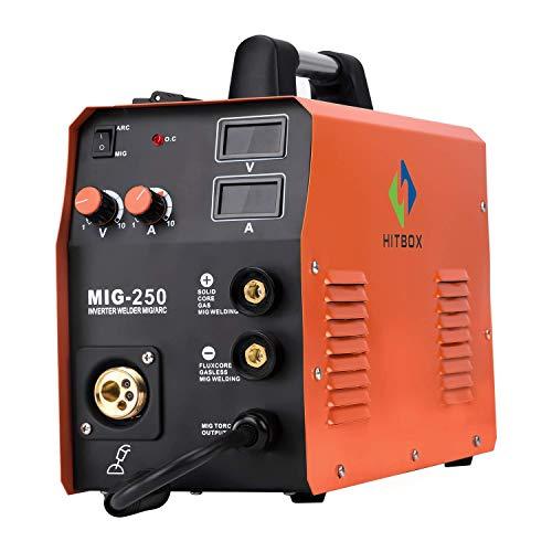 HITBOX New Arrival Mig Welder MIG TIG ARC Welding Machine Gas Gasless Welder 220V Mig Welding Machine 3 in 1 MIG250 (Renewed)