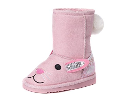 Muk Luks Girl's Bonnie Pink Bunny Boots Fashion, 11 M US Little Kid
