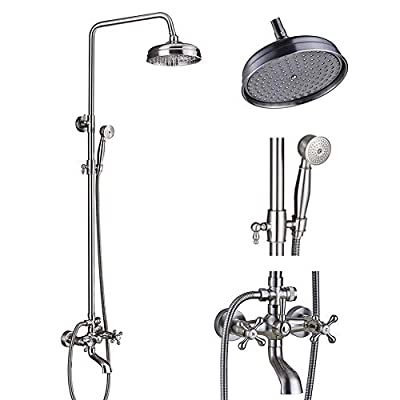 Votamuta Brushed Nickel 8-Inch Rain Shower Faucet Set Wall Mount Bathtub Height Adjustable Shower Mixer Tap with Hand Sprayer