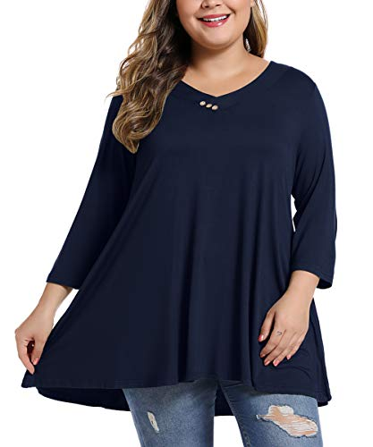 MONNURO Womens 3/4 Sleeve V Neck Plus Size Casual Loose Flowy Swing Tunic Tops Basic T Shirts Wearing with Leggings(Navy Blue,1X) (Apparel)