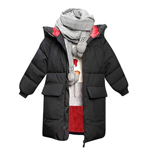 Dasongff donsjas voor jongens, verdikte koude-bescherming, lange winterjas, donsjas met capuchon, 2-7 jaar oud