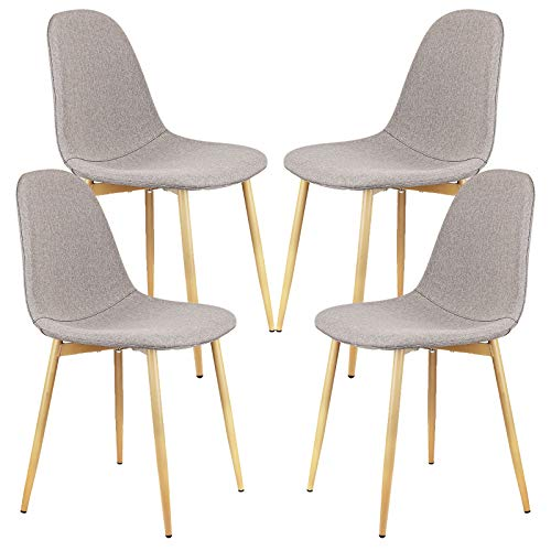 YJCfurniture Dining Chairs Set of 4 Mid Century Modern Side Chairs,Retro Linen Upholstered Dining Chair with Metal Tube (Linen Gray)
