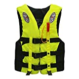 NoxwB Men's Life Jacket Vest for Adults Kayak Ski Buoyancy Fishing Boat Water Sport Safety Equipment (Yellow, 3XL)