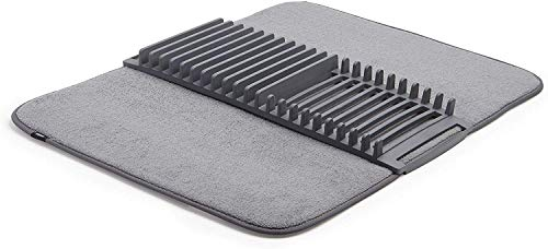 Umbra UDRY Rack and Microfiber Dish Drying Mat, 24 x 18 inches, Charcoal