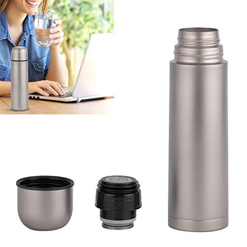 Botella de agua de titanio a prueba de fugas para acampar de 500 ml - Tecnología de aislamiento de vacío de doble pared, ligera y resistente a la corrosión, uso en el hogar, actividades al aire libre