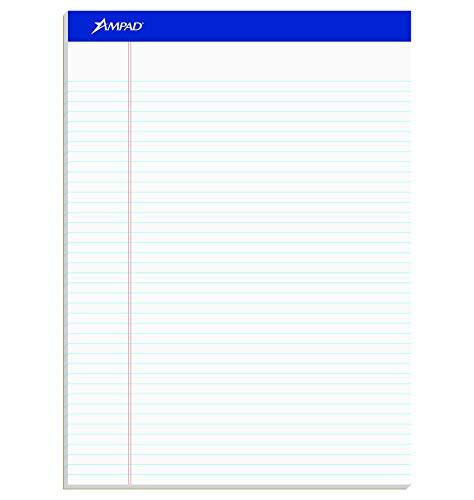 Ampad 20322 Perforated Writing Pad, 8 1/2 x 11 3/4, White, 50 Sheets (Pack of 12)