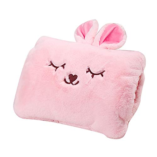 Milkycat Cute Hot Water Bottle with Cover?Portable Rechargeable Electric Hot Water Bag?Plush Bunny Hand Warmer?Winter Expressive Gift?Pink Rabbit?