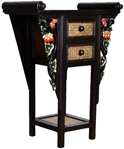 Simple and Creative Decoration Furniture Thai Entrance Table Southeast Asian Bamboo Weaving Side Table Hall Console Handcarved Sofa Table, Y-Z, Brown, 67x38x90cm