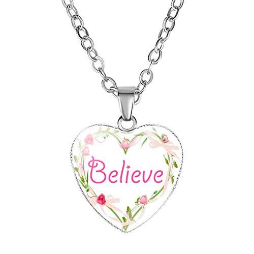 B.Z La Vie Dziecko dziewczęcy naszyjnik wisiorek w kształcie serca kryształ ze słowami/kwiatami e stop metalowy, colore: Believe, cod. NE-00064-BELIEVE