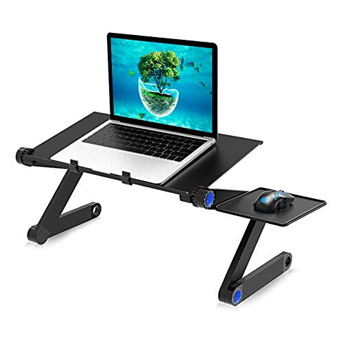 ZDiane Best Adjustable Laptop Cooling Stand and Lap Desk with Dual Fan Cooler, Breakfast Tray for Eating, Floor Desk for Laptop and Writing in Sofa and Couch, Rose Red,Black,Standard