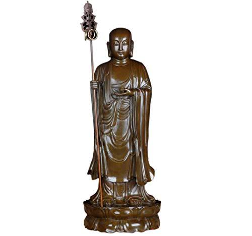 ZSMLB Escultura de Estatua de Buda, Figura de Ksitigarbha, Estatua de Buda de pie, ofrenda Budista, decoración, meditación Zen, Estatua de Bronce, Adornos artesanales