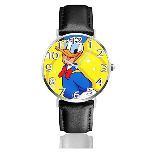 Donald Duck Reloj Unisex de Cuarzo analógico de fácil Lectura de 38 mm con Correa de Cuero